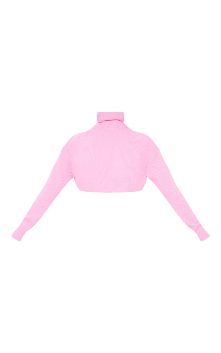 Pink Knitted Rib Cropped Roll Neck Jumper 3