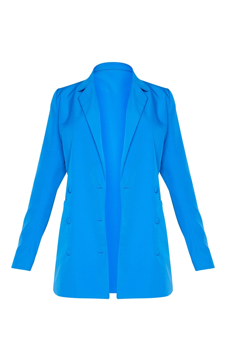 Bright Blue Double Breasted Covered Button Blazer 5