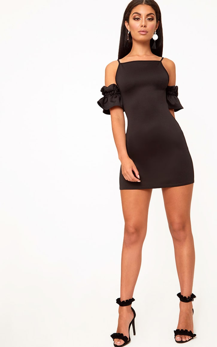 Black Ruffle Sleeve Detail Cold Shoulder Bodycon Dress 4