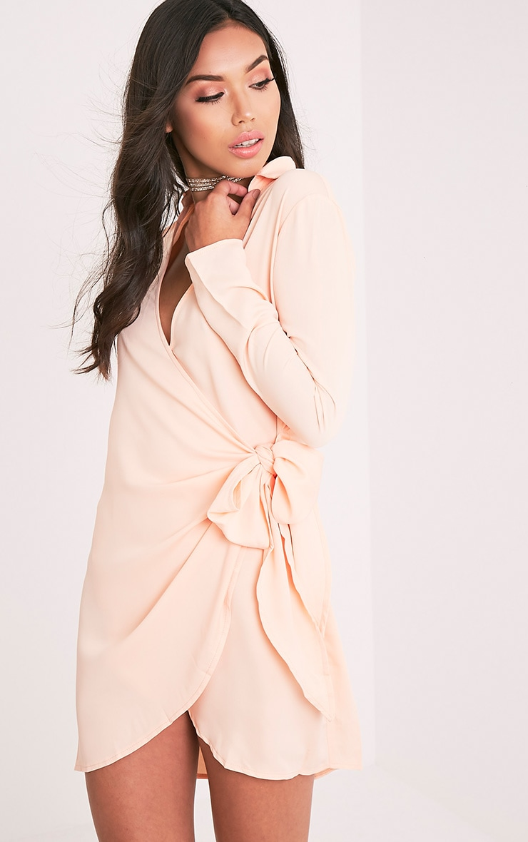Shaylene Nude Tie Side Satin Shirt Dress 4