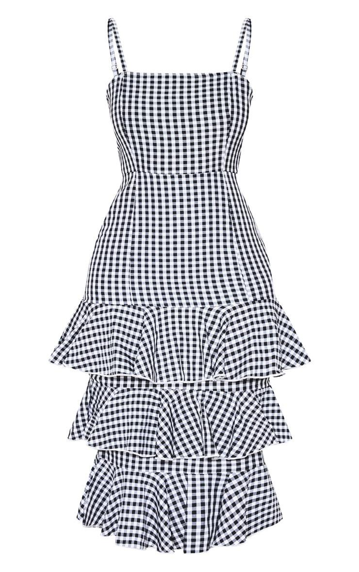 Monochrome Gingham Ruffle Tiered Midi Dress 3