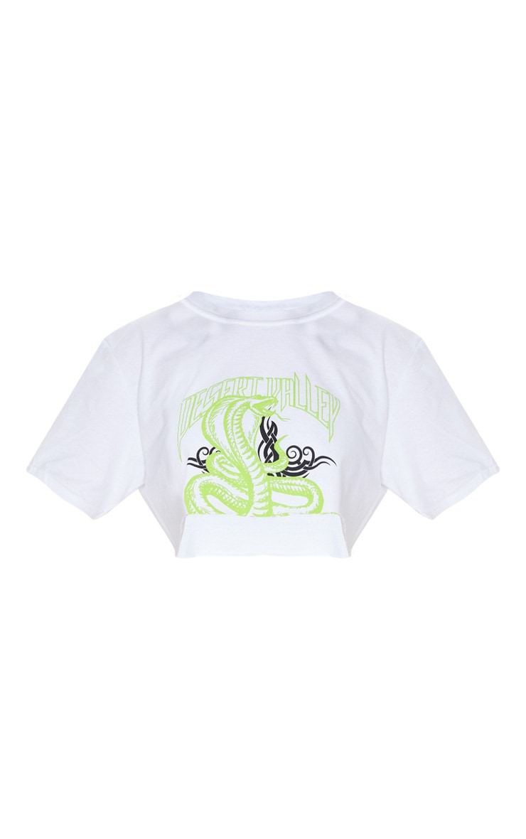 White Snake Cropped T Shirt 3