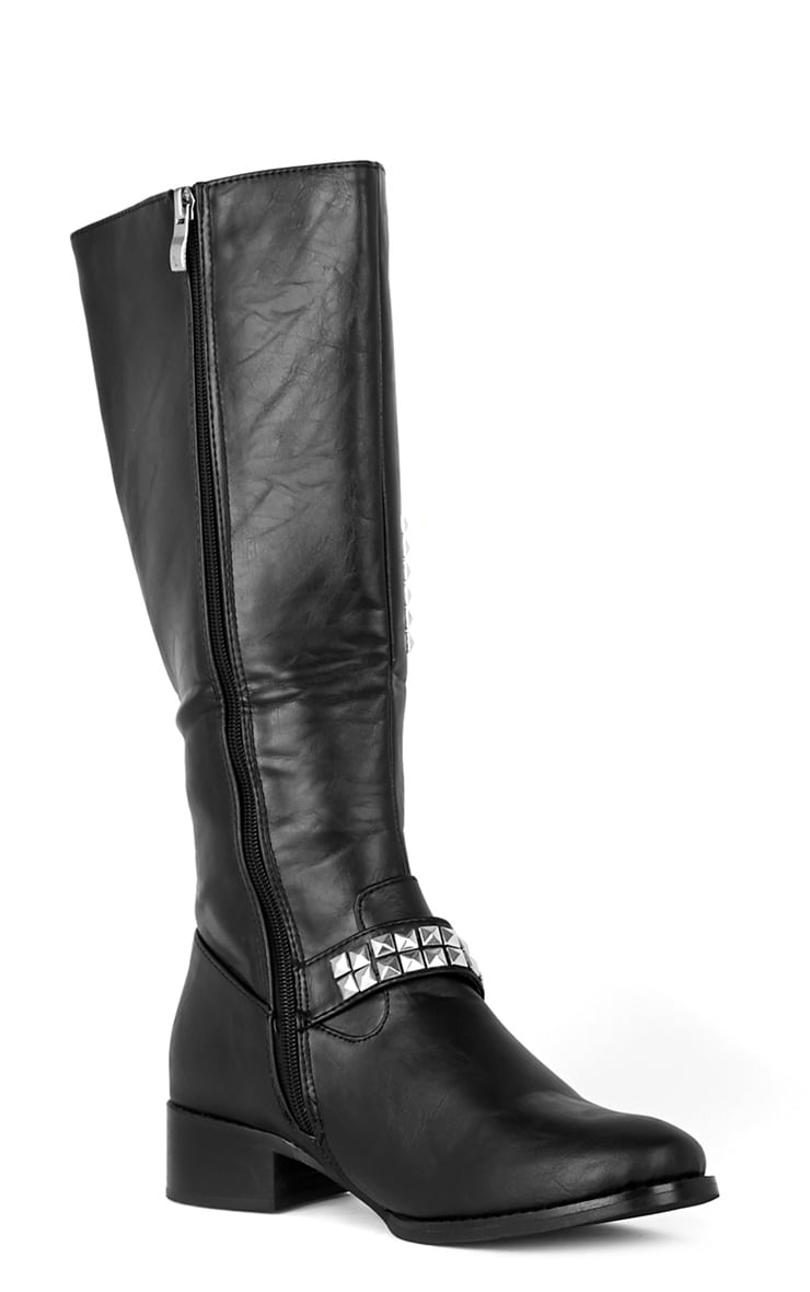 Abi Black Biker Boots With Silver Cross 2