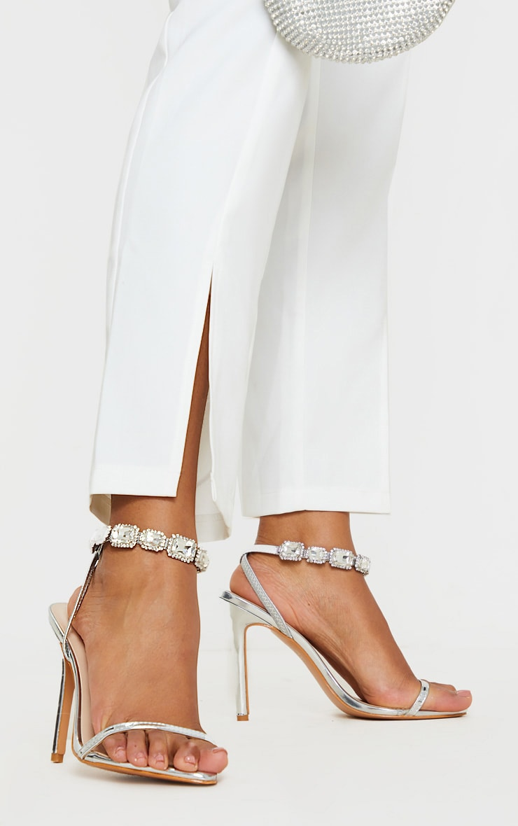 Silver Point Toe Jewel Ankle Sling Strap Heel Sandal 1