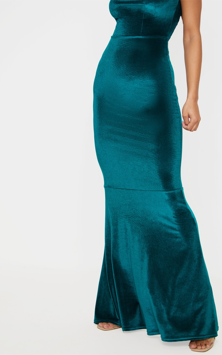 Emerald Green Velvet Square Neck Fishtail Maxi Dress 5