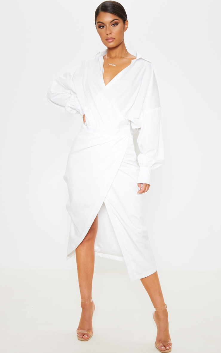White Midi Shirt Dress 1