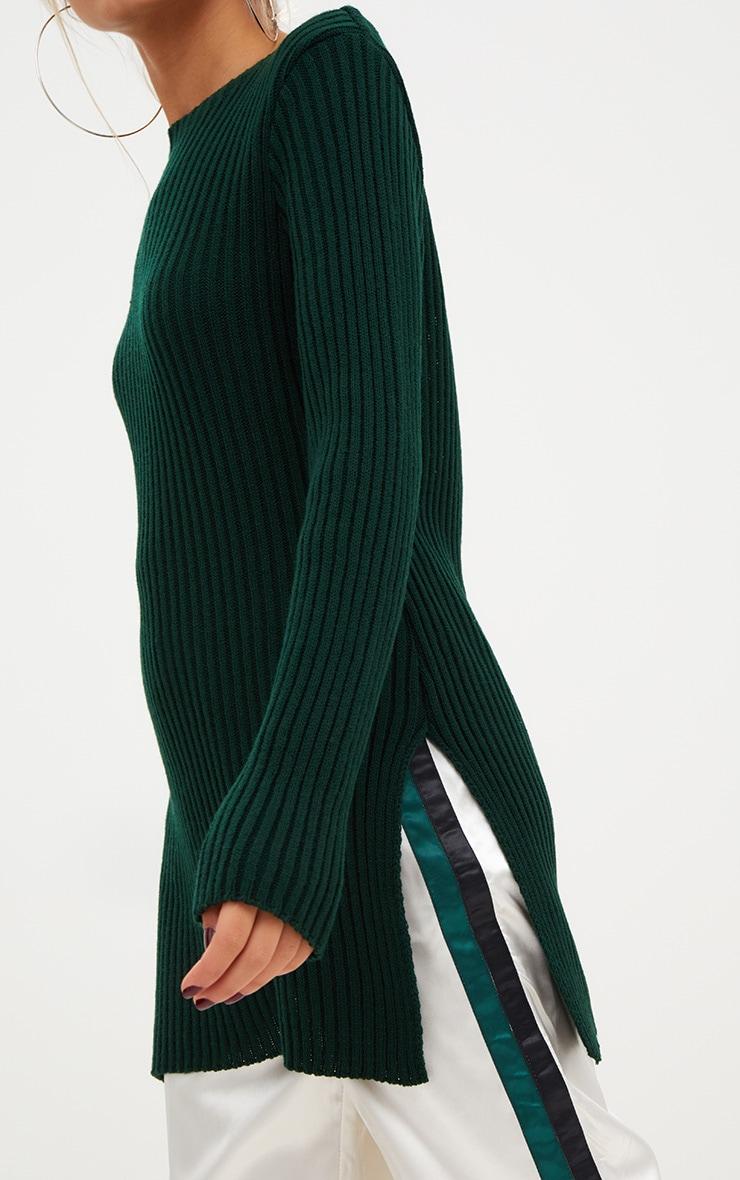 Forest Green Round Neck Side Split Knitted Jumper 5