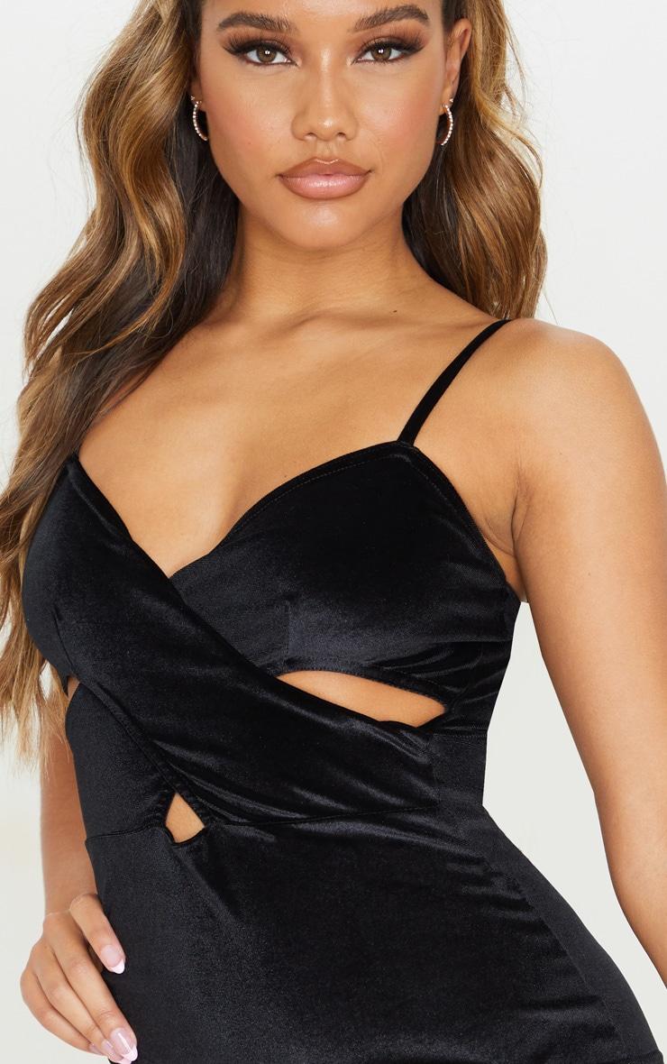 Black Velvet Strappy Side Cut Out Bodycon Dress 5