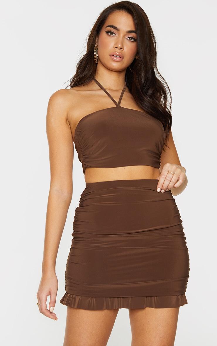 Chocolate Brown Slinky Ruched Side Frill Panel Hem Mini Skirt 4