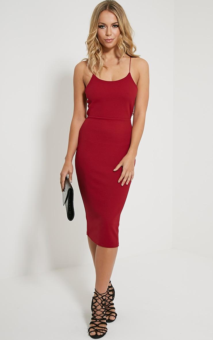 Tonia Oxblood Lace Back Detail Midi Dress 3