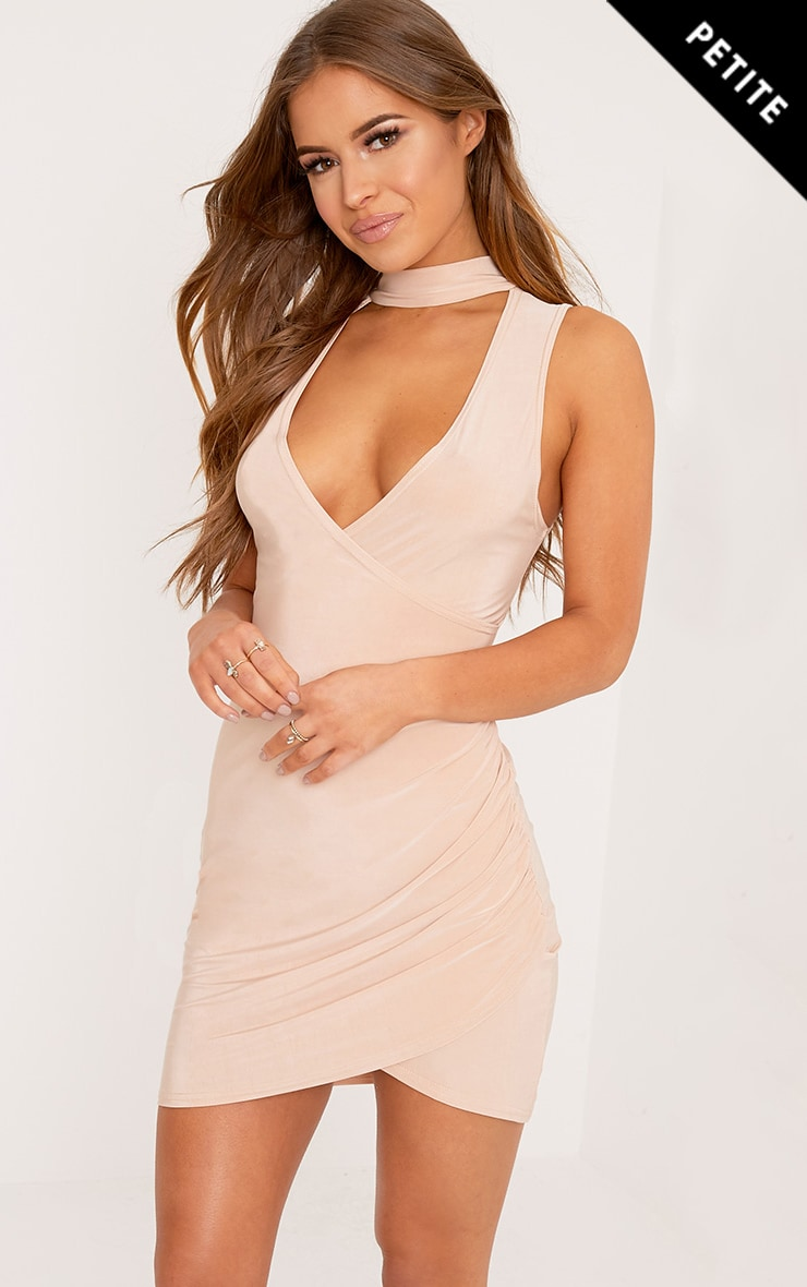 Petite Larinda Nude Choker Ruched Bodycon Dress 1