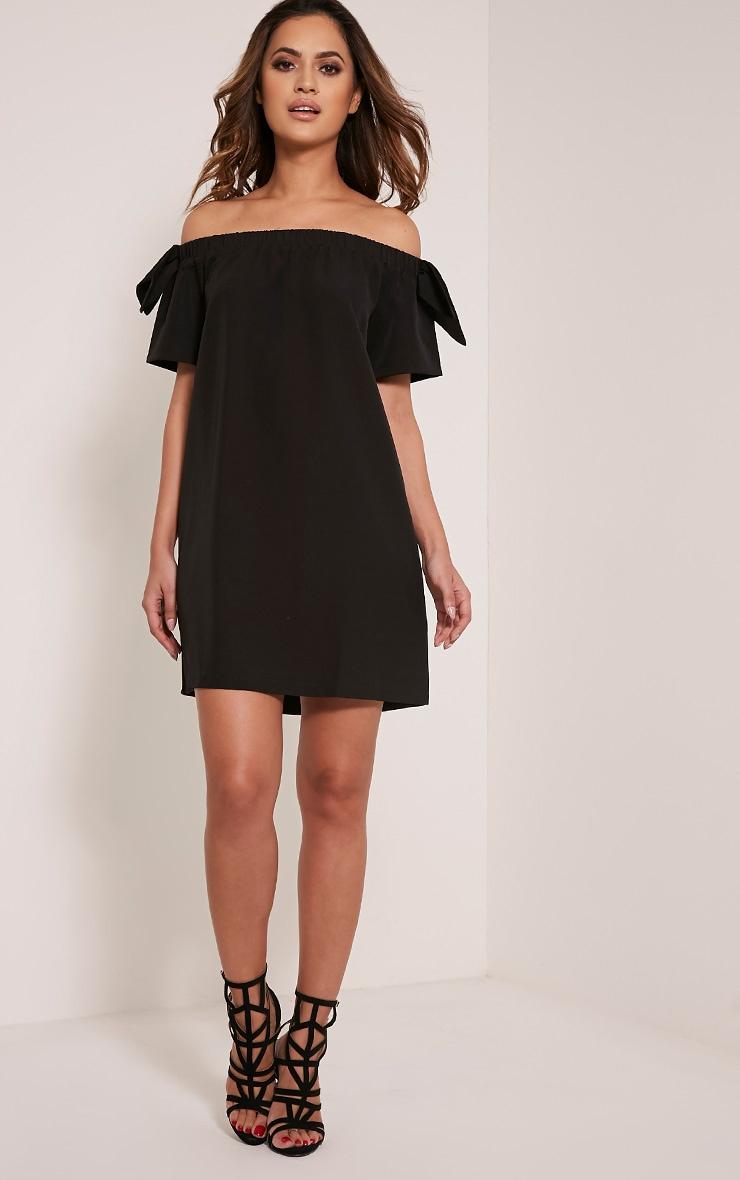 Cayla robe trapèze bardot en crêpe noire 5