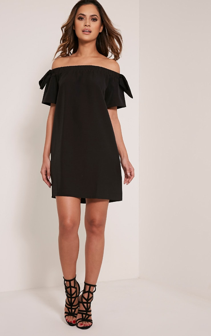 Cayla Black Crepe Bardot Swing Dress 5