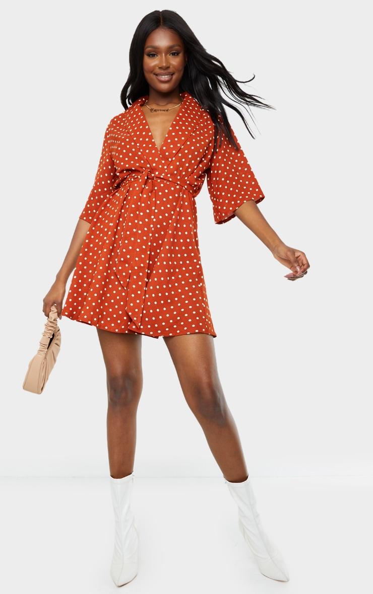 Tall Terracotta Polka Dot Tea Dress 3