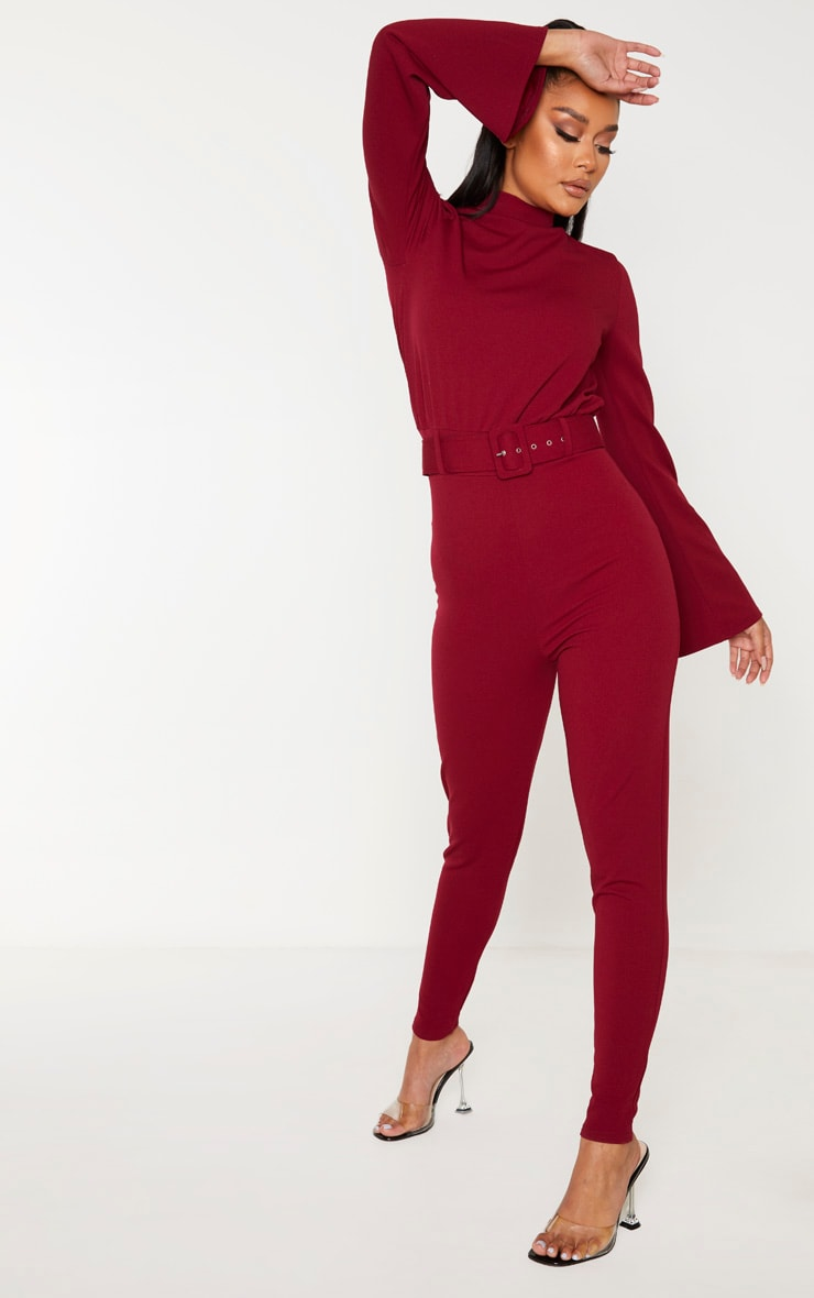 Burgundy Belt Detail High Neck Long Sleeve Jumpsuit 4