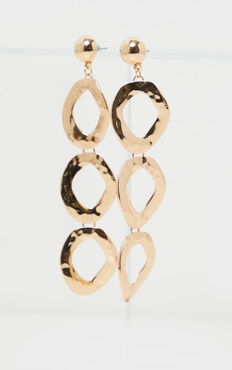 Gold Irregular Diamond Shape Drop Earrings 2
