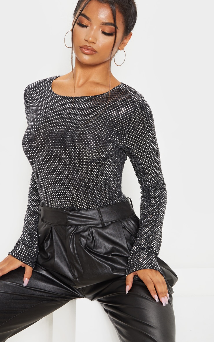 Silver Sequin Long Sleeve Bodysuit 6