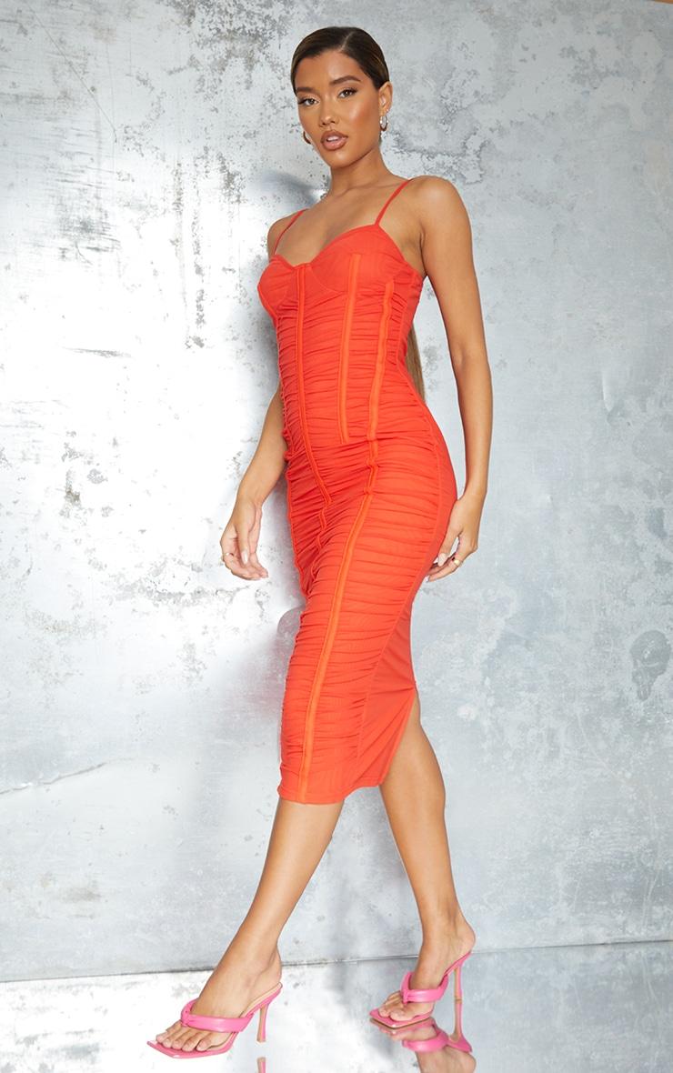 Orange Strappy Mesh Ruched Satin Binded Midi Dress 3