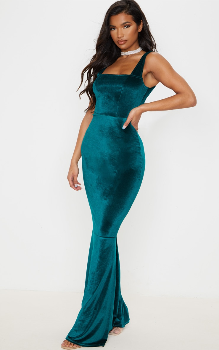 Emerald Green Velvet Square Neck Fishtail Maxi Dress 4