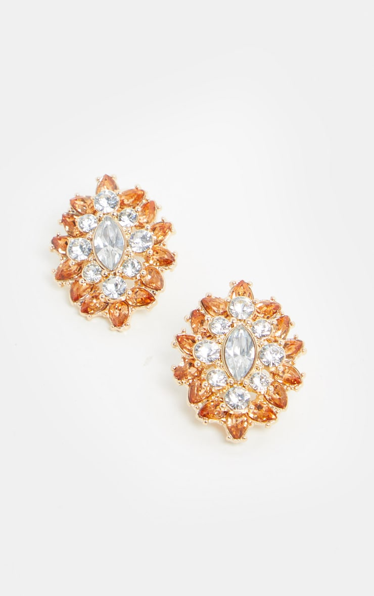 Gold Crystal And Amber Gemstone Cluster Statement Studs 2