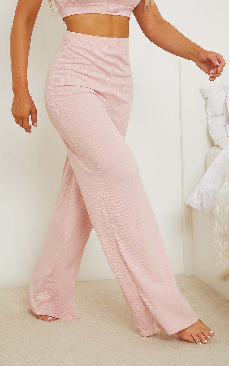 PRETTYLITTLETHING Dreams Blush Pink Badge Mix and Match Rib Wide Leg PJ Bottoms 2