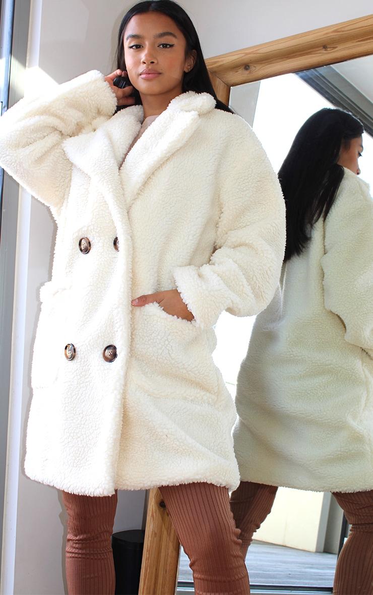 Petite Cream Borg Midi Coat 1