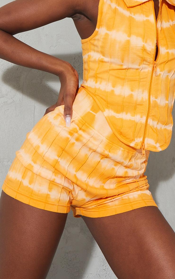 Orange Tie Dye Print Seam Detail Hot Pants 5