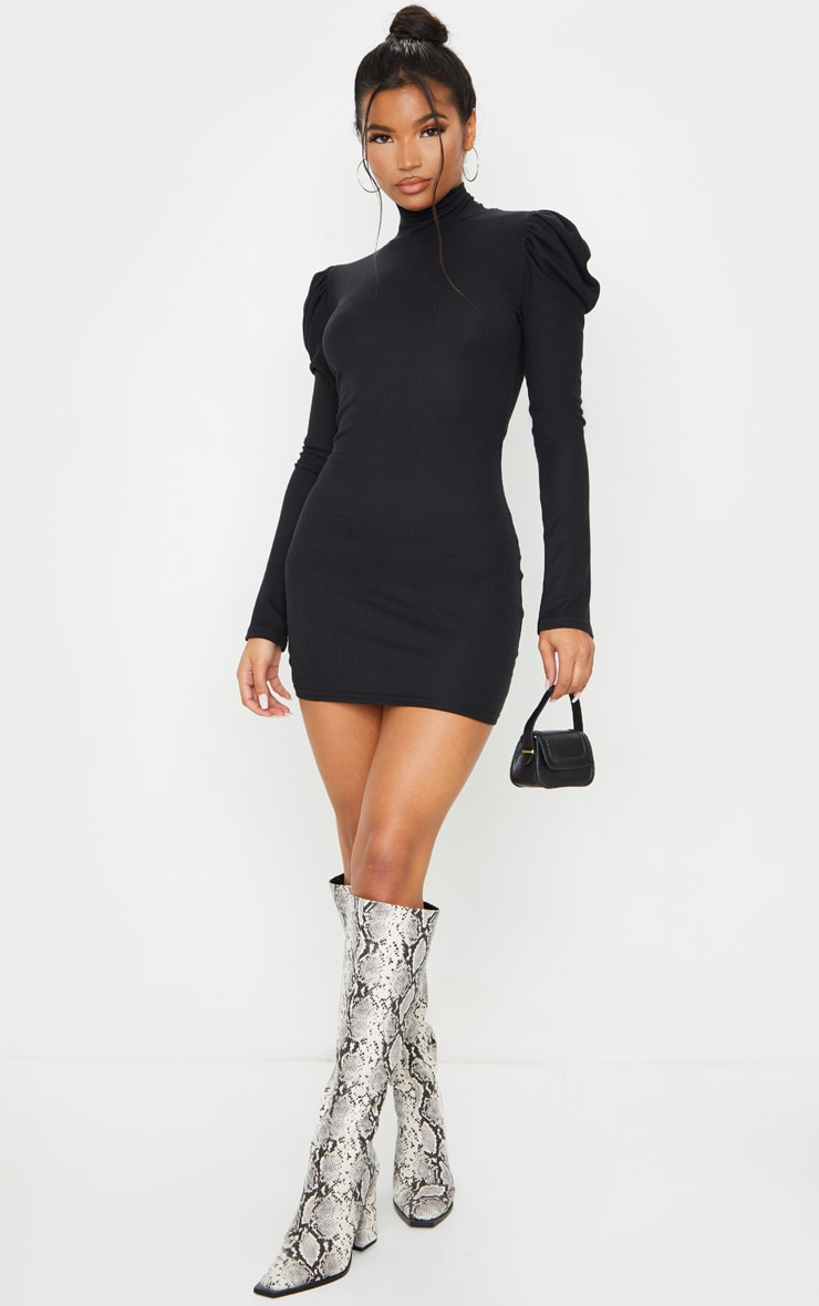 Black Rib Puff Sleeve High Neck Bodycon Dress 4