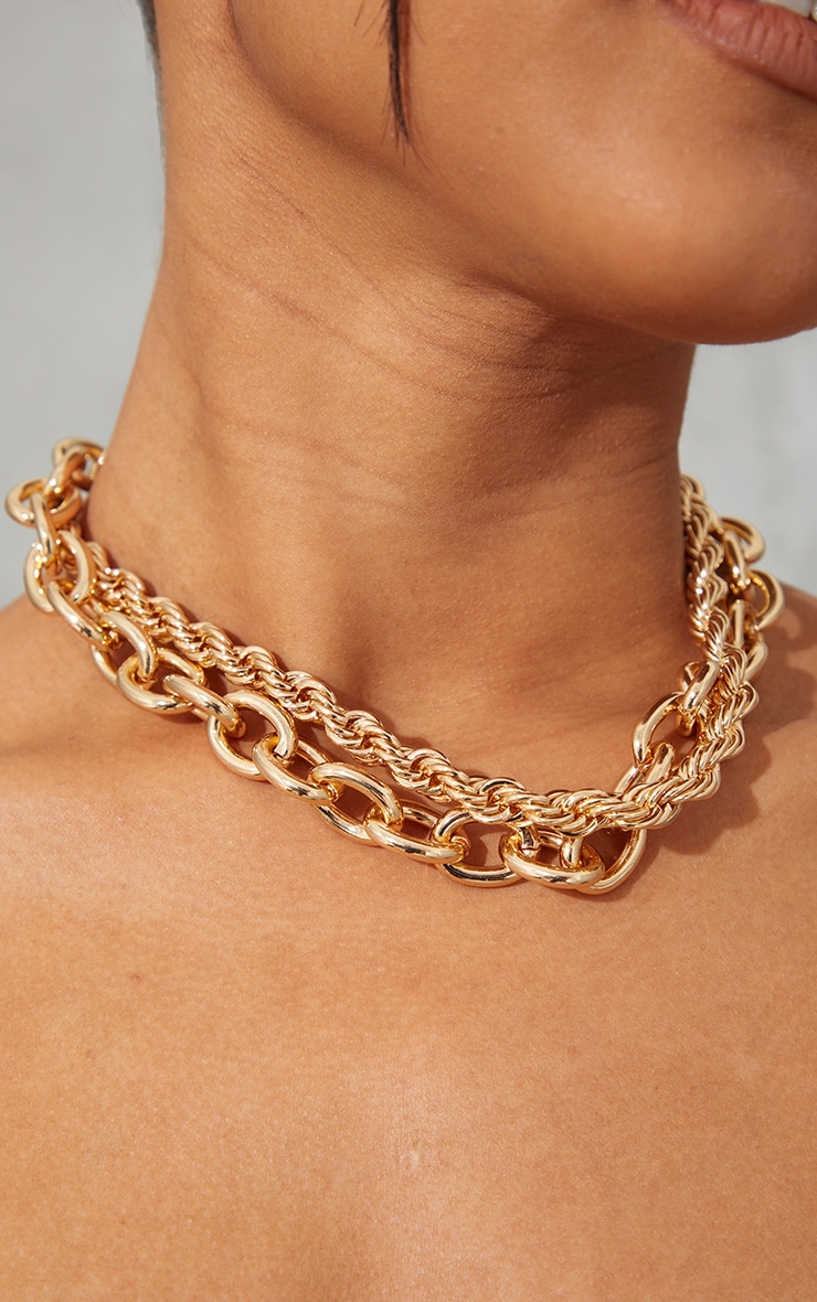 Gold Oversized Chunky Oval And Rope Chain Layering Necklace 1
