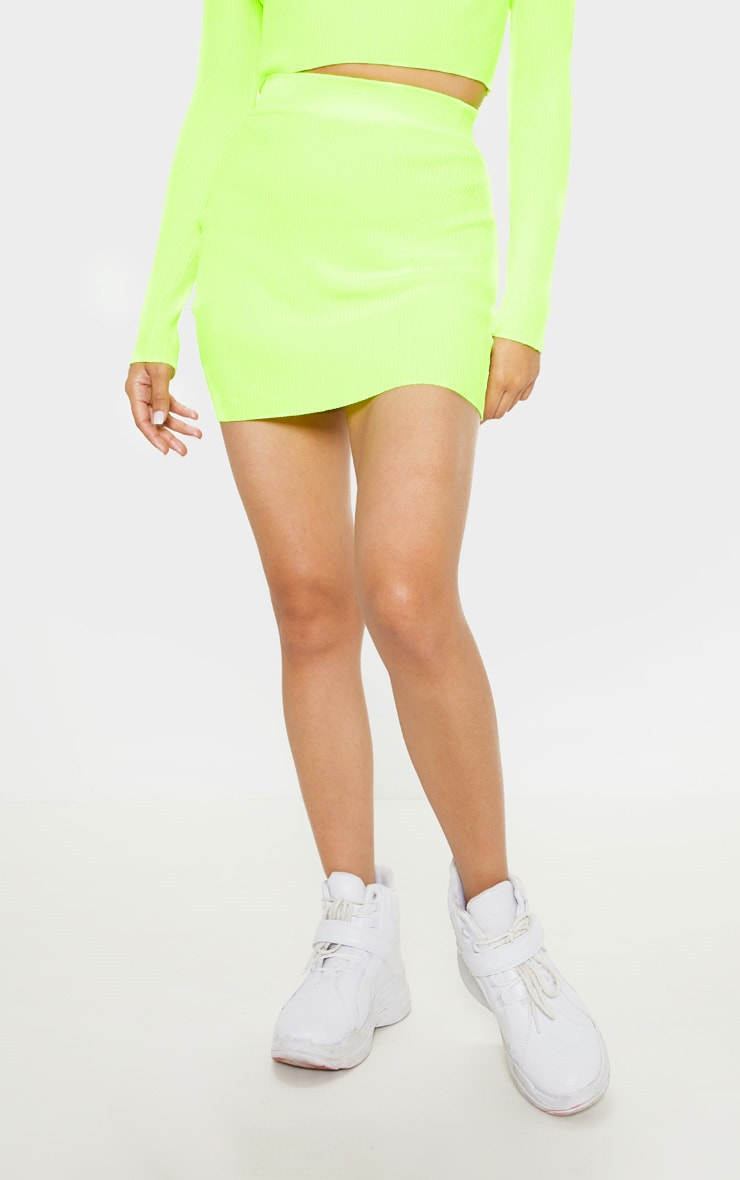 Neon Yellow Ribbed Knitted Mini Skirt  2