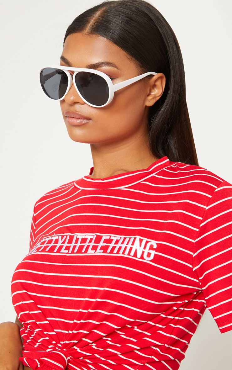 PRETTYLITTLETHING Red Embroidered Slogan Stripe T Shirt 5