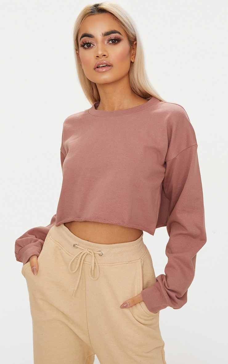 Mauve Cut Off Crop Longsleeve Sweater