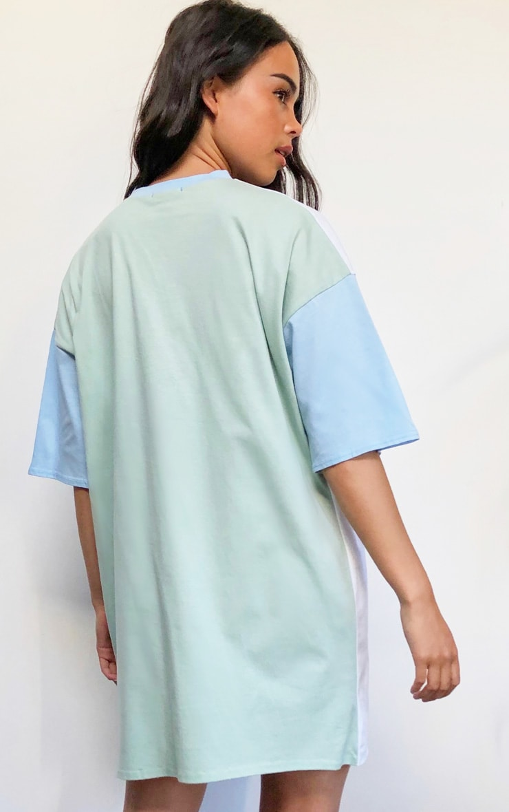 Multi Pastel Contrast Pocket Detail Oversized T Shirt Dress 2