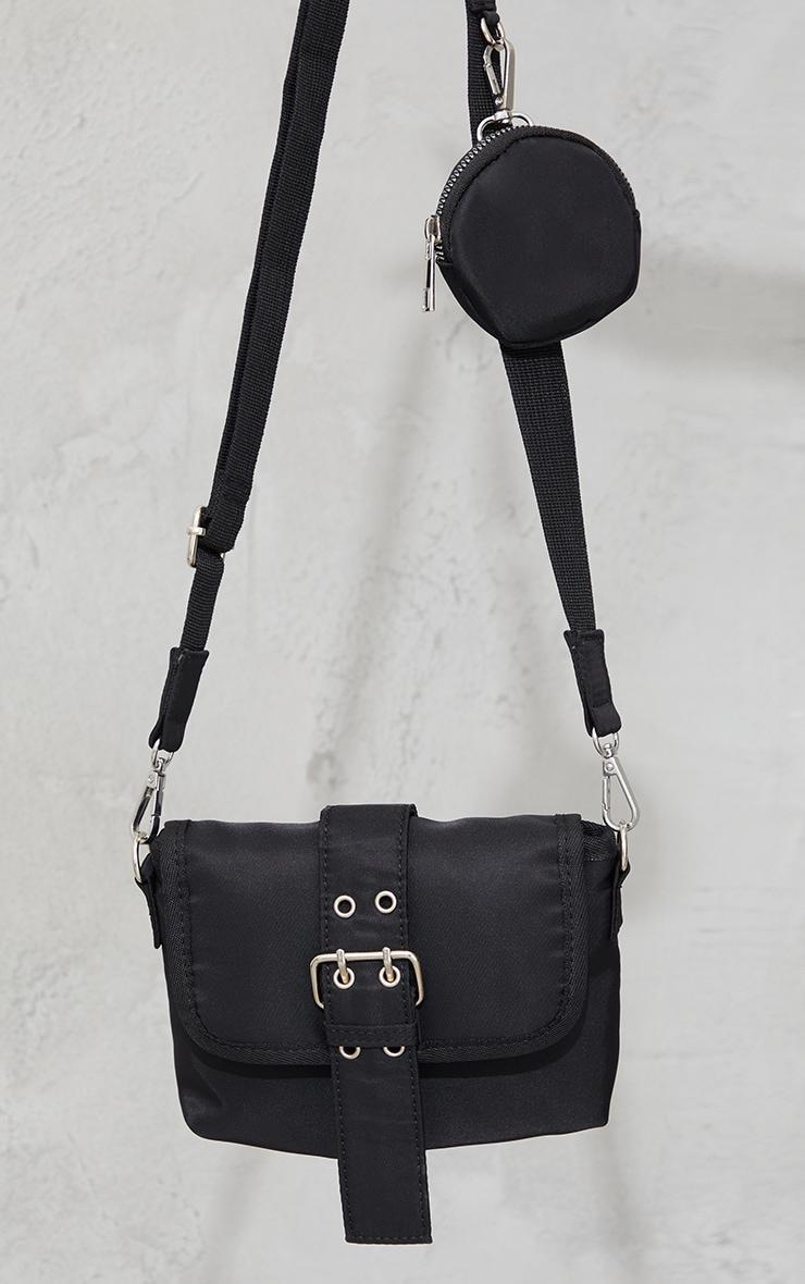 Black Nylon Multi Pocket Eyelet Detail Bag 2