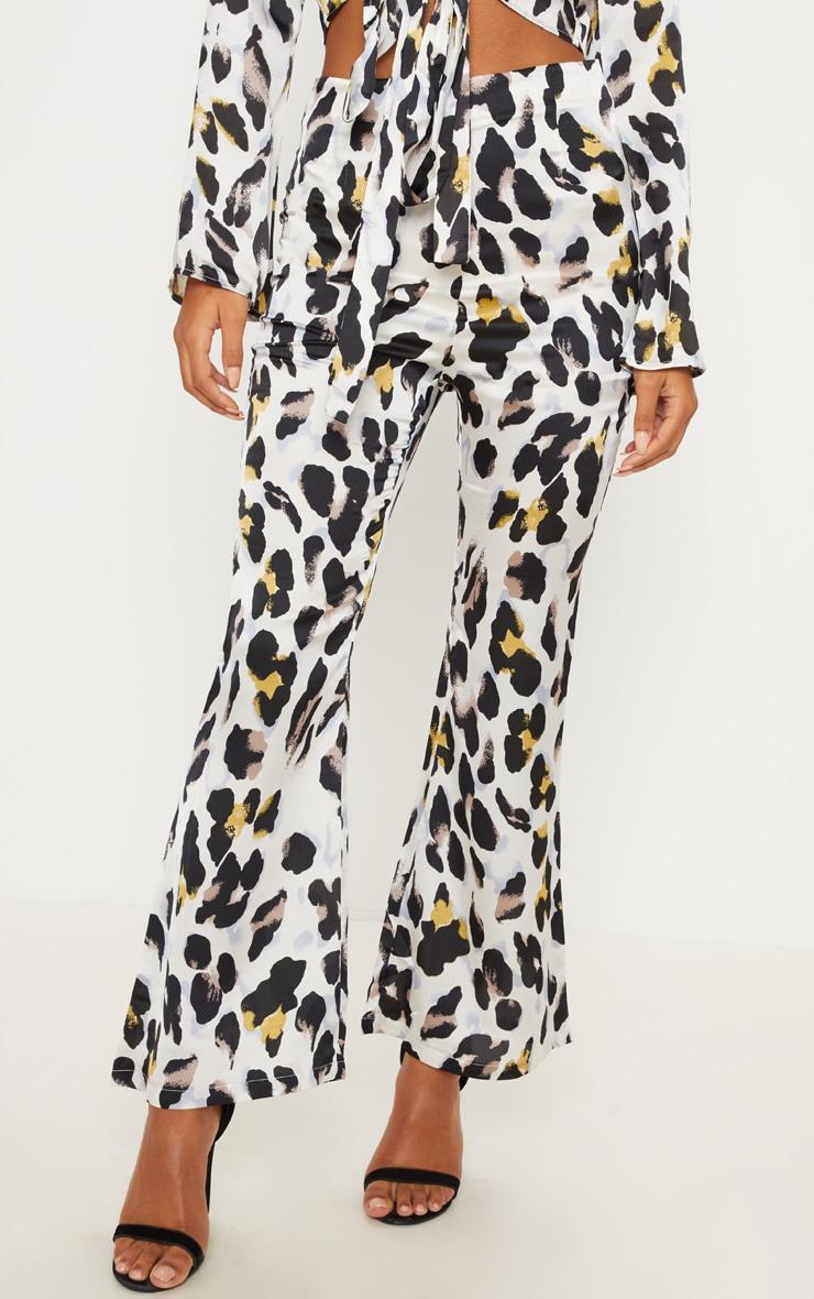 White Satin Leopard Print High Waisted Wide Leg Pants 2