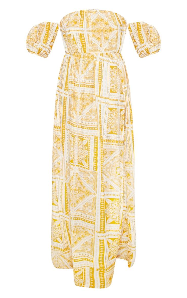 Yellow Paisley Tile Print Bardot Maxi Dress 3
