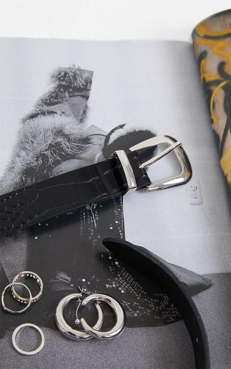 Black PU Snake Silver Buckle Waist Belt 3