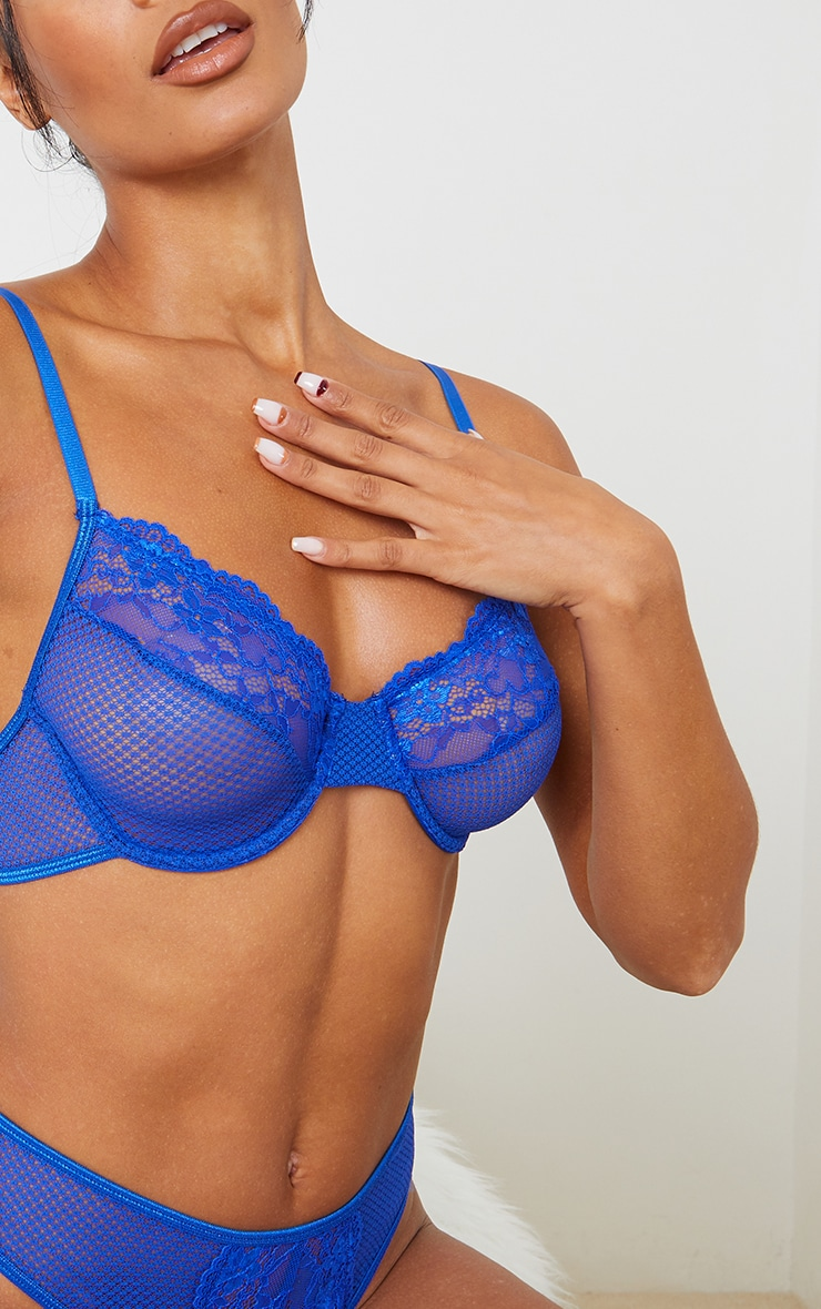Cobalt Fishnet Lace Trim Underwired Bra 4