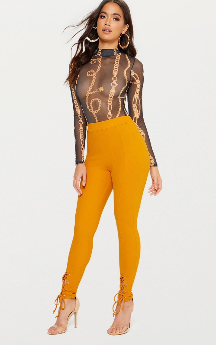 Mustard Lace Up Hem Skinny Trousers 1