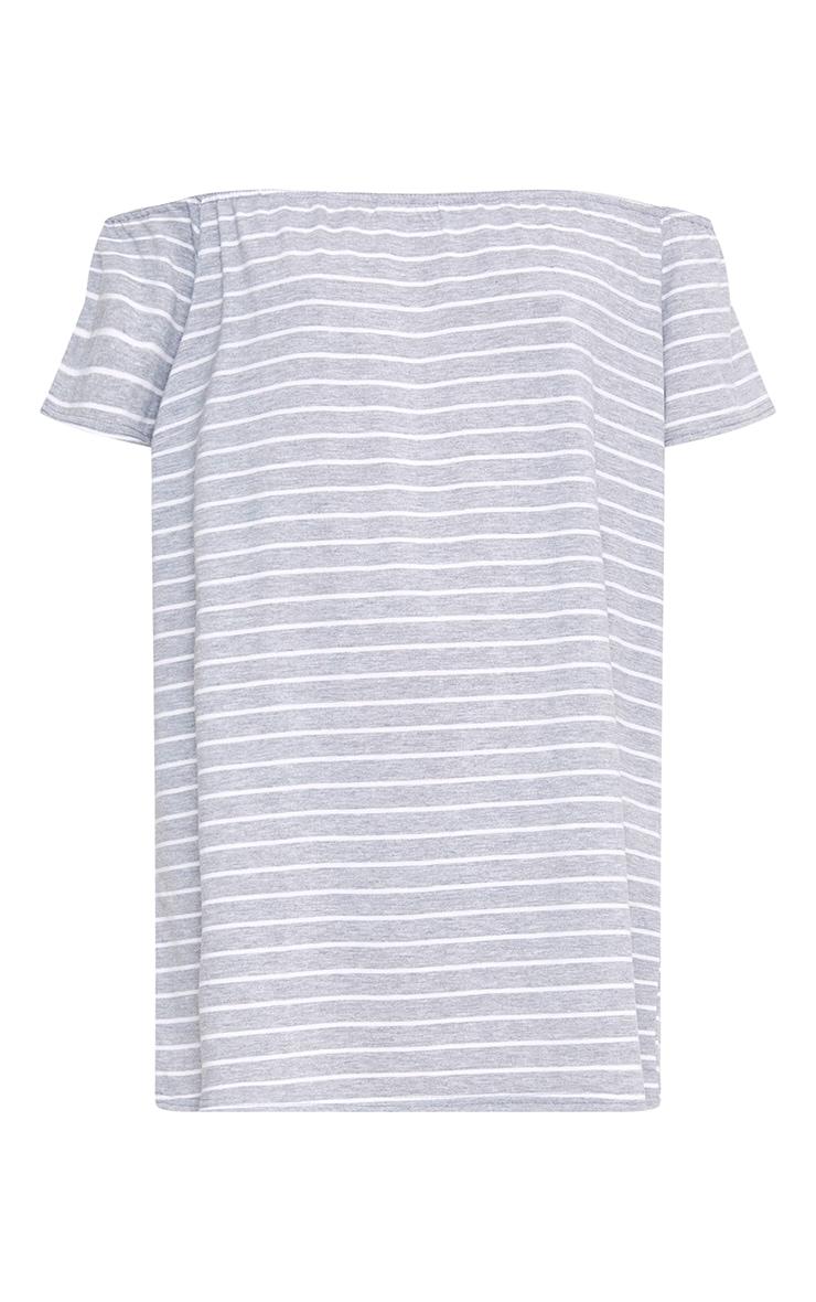 Grey Stripe Bardot Shift Dress 3