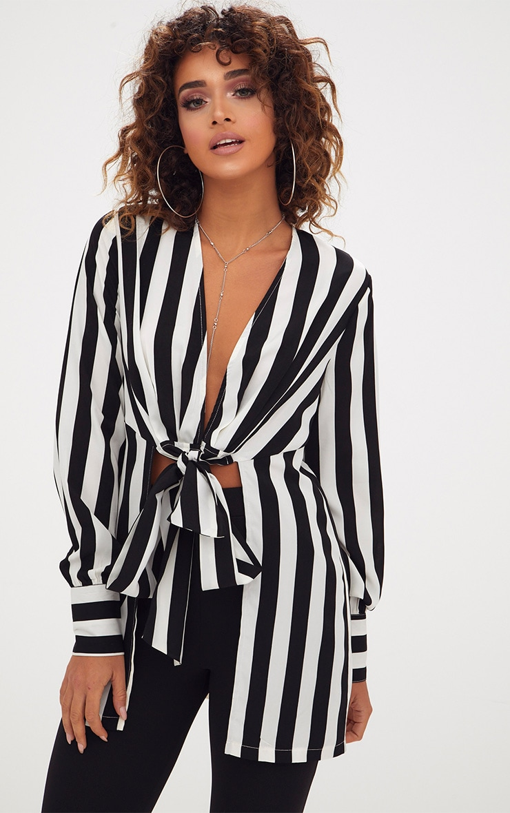 Monochrome Stripe Tie Front Long Blouse 1