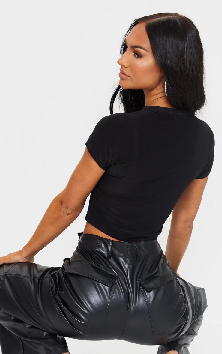 Black Slinky Short Sleeve Crop T Shirt 2