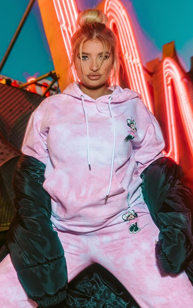 PRETTYLITLLETHING Plus Baby Pink Disney Minnie Tie Dye Hoodie 1