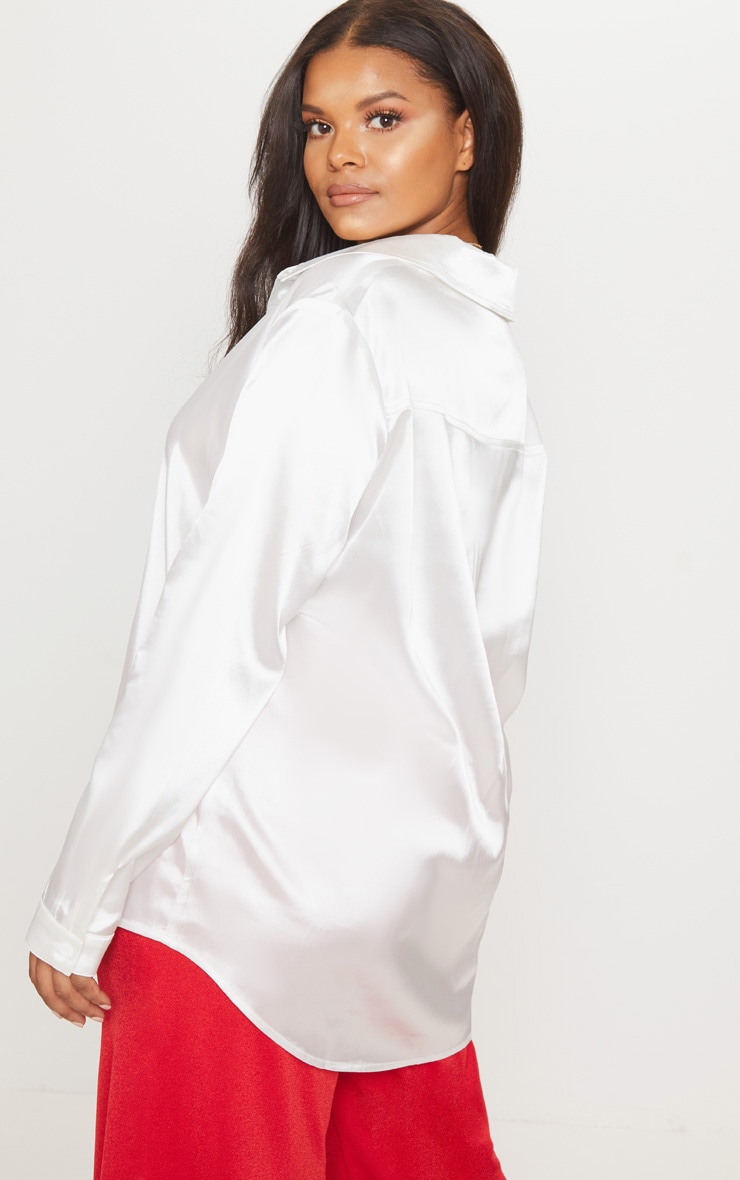 Plus White Satin Button Front Shirt 2