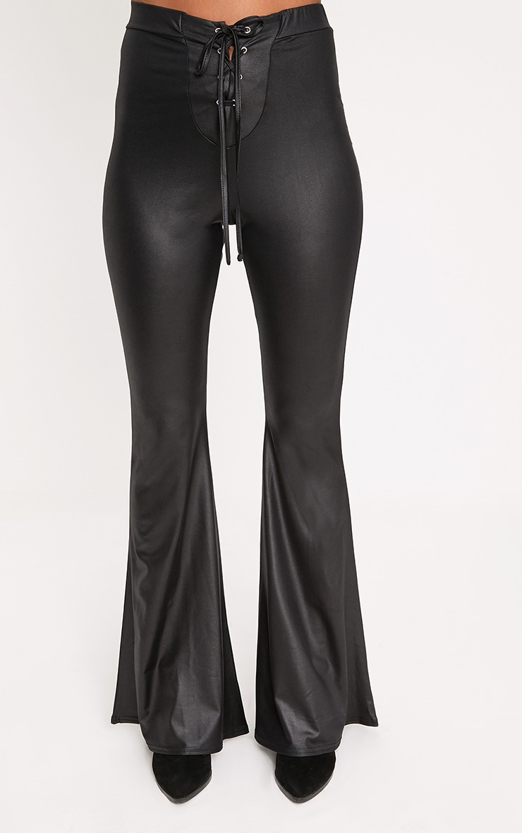 Black PU Lace Up Flared Trousers 2