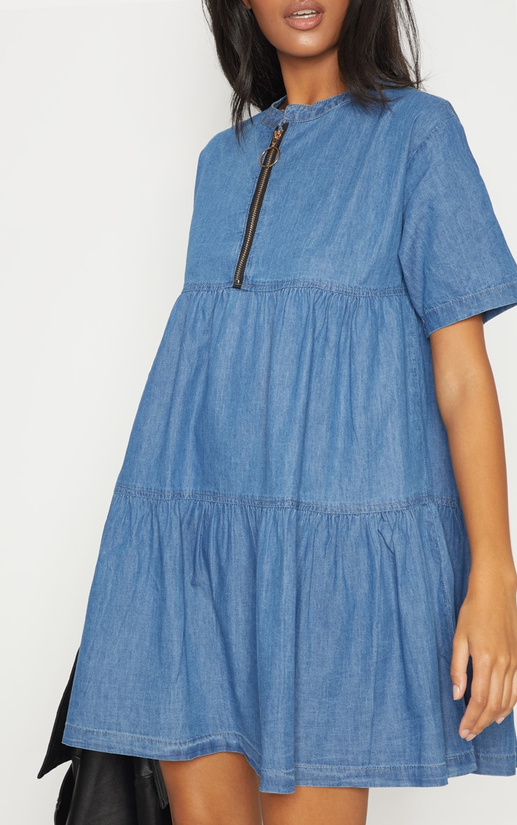 Mid Wash Chambray Tiered Smock Dress 5