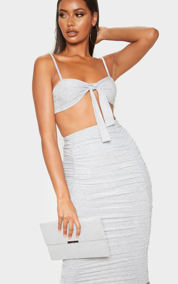 Silver Ruched Front Textured Glitter Midi Skirt 5