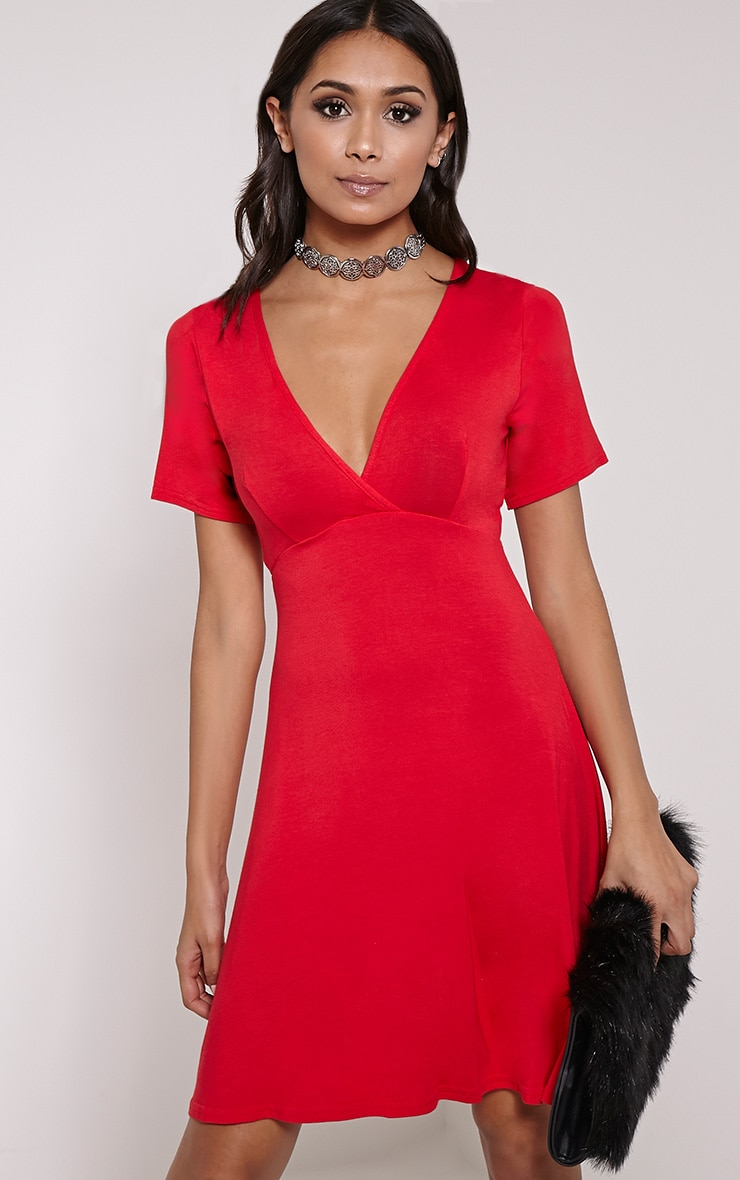 Basic Red Plunge Wrap Skater Dress 1