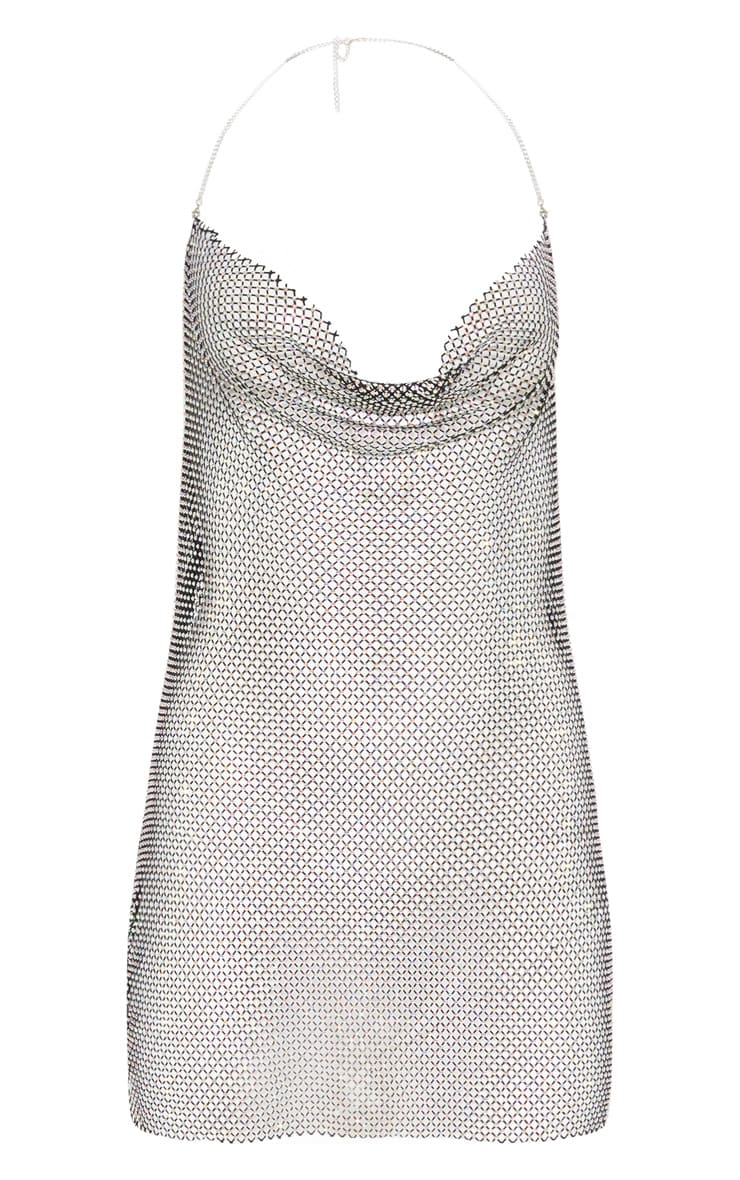 Silver Diamante Chain Halterneck Detail Bodycon Dress & Bandana Set 3