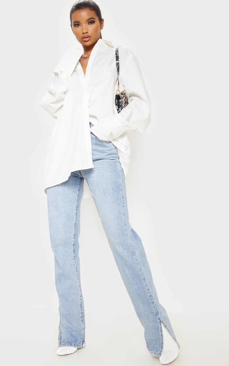 White Oversized Cuff Poplin Shirt 4